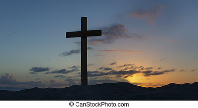 An old cross on sand dune next to the ocean with a calm sunrise