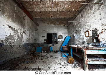 old empty desolate dirty locksmith workshop - an old empty...