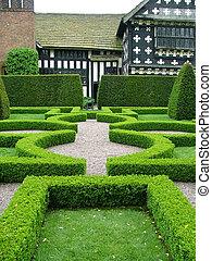 an old English knot garden - An English knot garden with a...