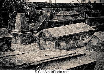 cemetery - An old european cemetery. Halloween.