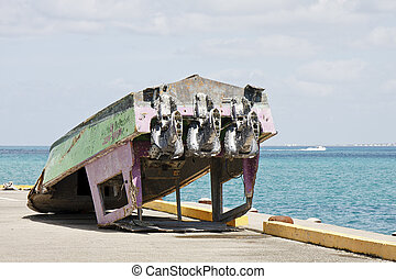 An Old Fishing Boat Upside Down
