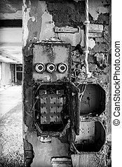 old fuse box - An old fuse box in a derelict factory