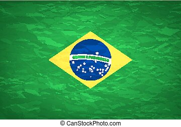 An old grunge flag of Brazil state vector