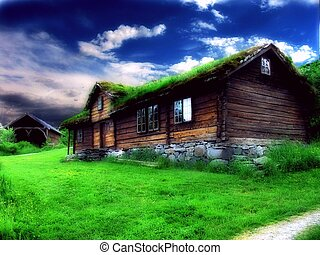 An old historic house, retouched in PS for a dreamy, unnatural look. Taken in Borgund Museum , Aalesund, Norway