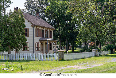 Old House with White Picket Fence
