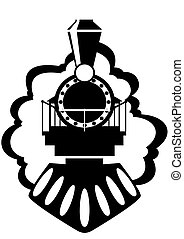 The steam locomotive. Old rail. Black and white illustration