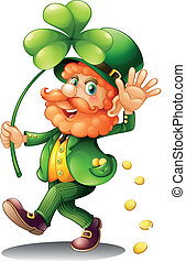 An old man celebrating St. Patrick's Day - Illustration of...