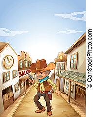 An old man holding a gun near the saloon