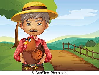 An old man holding a rooster