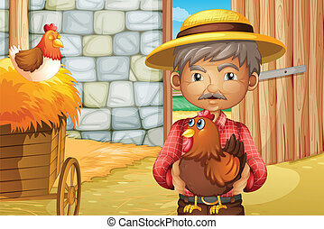 An old man holding a rooster inside the barnhouse