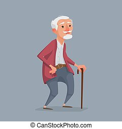 old man is standing with a cane.