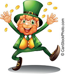An old man throwing coins for St. Patrick's Day -...