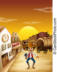An old man wearing a hat holding a gun outside the saloon - ...