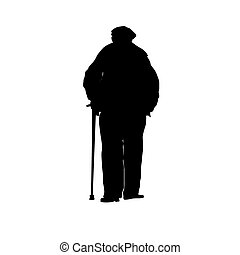 an old man with a cane silhouette.e