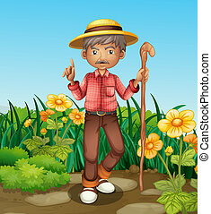 An old man with a cane standing at the garden