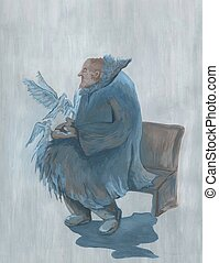an old man with pigeons sitting on a bench