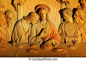 An old marble carving detail of the Last Supper