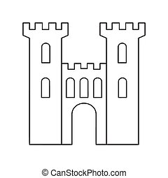 An old medieval stone gate thin line icon on a white...