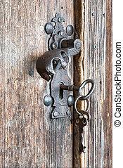 metal handle and keys - An old metal handle and keys at...