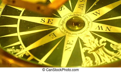 An old model of a golden compass