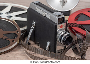 old movie camera 16mm with reels films