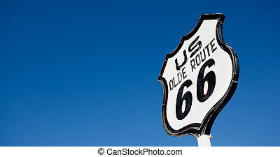 An old, nostalgic  sign on historic Route 66