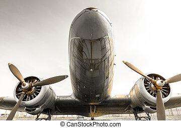 an old obsolete aircraft propeller, bottom-up, detail