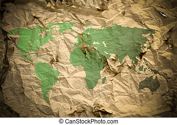 an old paper earth map