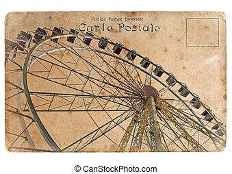 An old postcard with a big Ferris wheel.