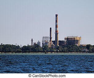 An old powerplant along the York river and Chesapeake Bay in Yorktown Virginia that was once active and is now non active