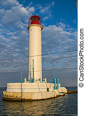 An old sea lighthouse in the Odessa port