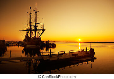old ship - An old ship and sunset