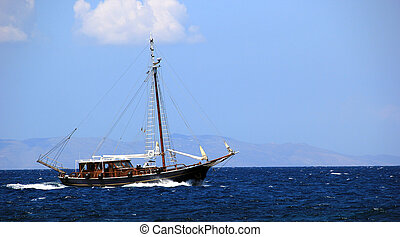 An old ship on the sea