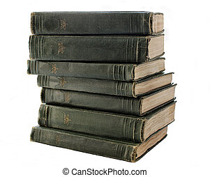 An old stack of green books on the shelf