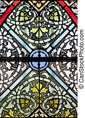 An old stained glass window