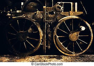 an old steel train wheels, vintage, detail