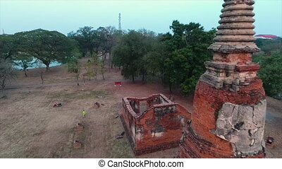 An old stupa with red bricks in an old temple - A long shot...