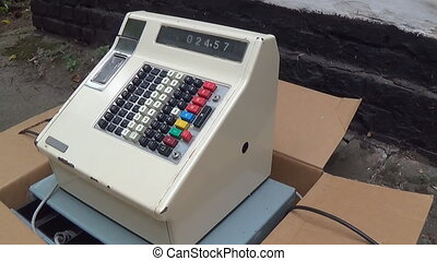 An old style cash register - Vintage antique cash register...