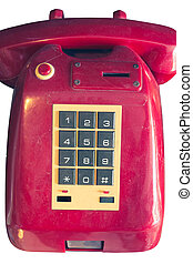 an old telephone with rotary dial isolated