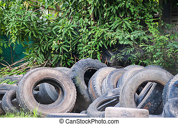 Old tires in soft light