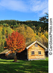 An old traditional log cabin - An old traditional Norwegian...