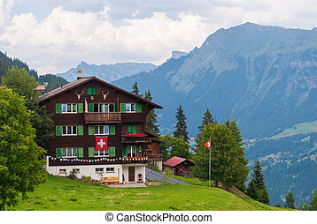 An old traditional Swiss Chalet in the famous Swiss ski resort of Murren