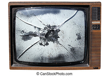 An old trashed TV with a smashed screen. - An old trashed TV...