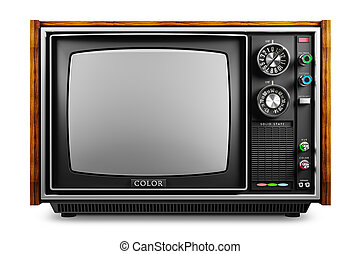 An old TV with a monochrome kinescope isolated 3d