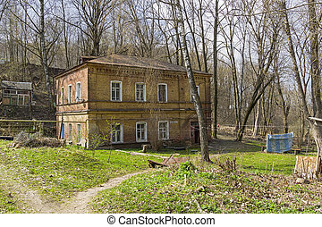 An old two-storey brick house in the center of Smolensk, Russia.