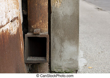 An old vintage rusty drainpipe background - Aged weathered...
