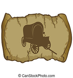 An old wagon and parchment - Antique vehicle on a background...