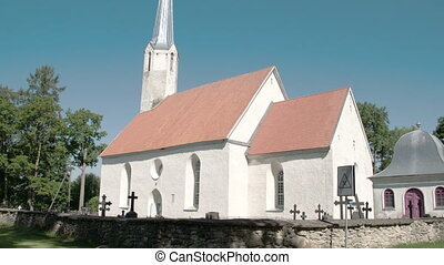 An old white church from town