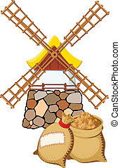 An old windmill and bags with wheat