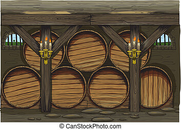 An old wine barrels of a traditional wine producer